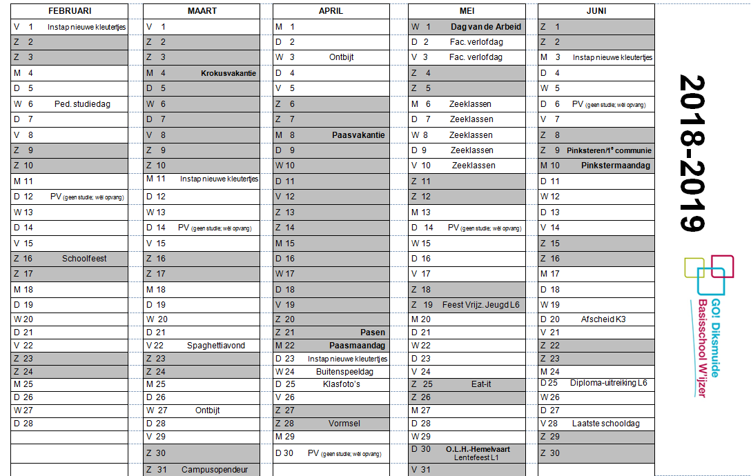 kalender basisschool wijzer go diksmuide. Black Bedroom Furniture Sets. Home Design Ideas